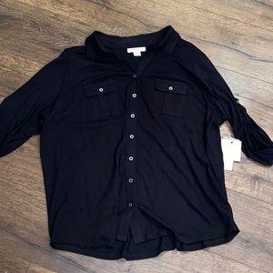 Liz Claiborne NWT Black Button Down Blouse 3X